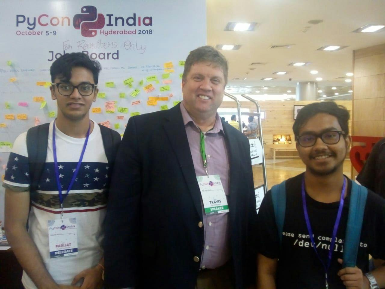Travis Oliphant and Dedipyaman Das at Pycon India 2018